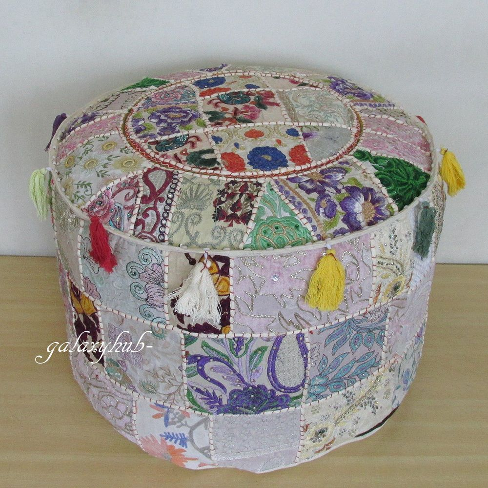 22 Large Indian Pouf Cover Footstool Vintage Patchwork Seat
