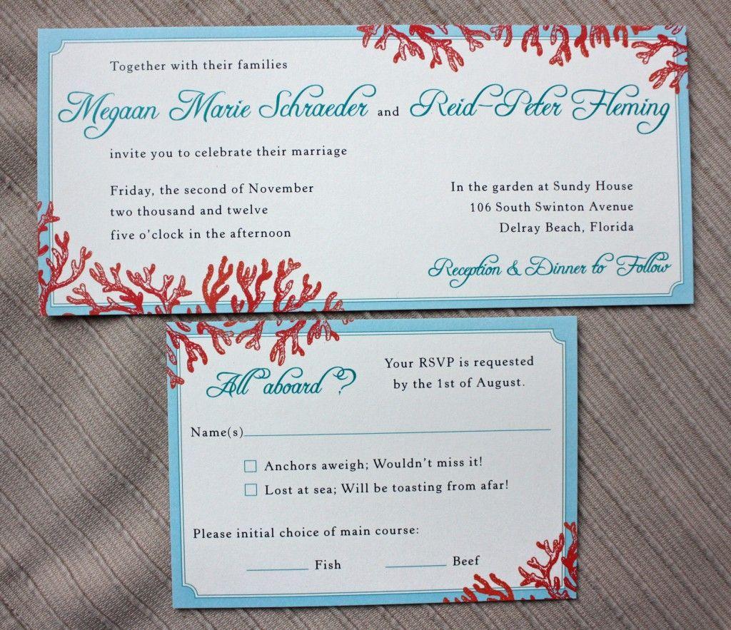 Tiffany Blue, Teal & Red Beach Coral Horizontal Wedding Invitations ...