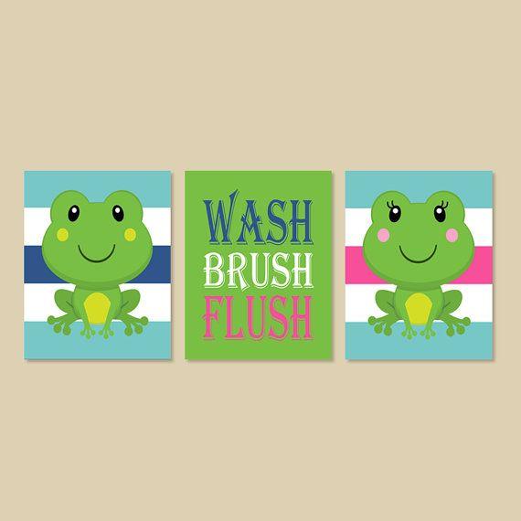Frog Bathroom Decor Boy Girl Bathroom Wash By Lovelyfacedesigns