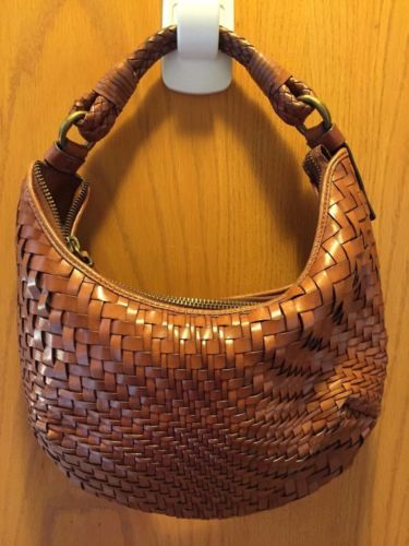 Beautiful Cole Haan Brown Woven Leather Handbag Purse