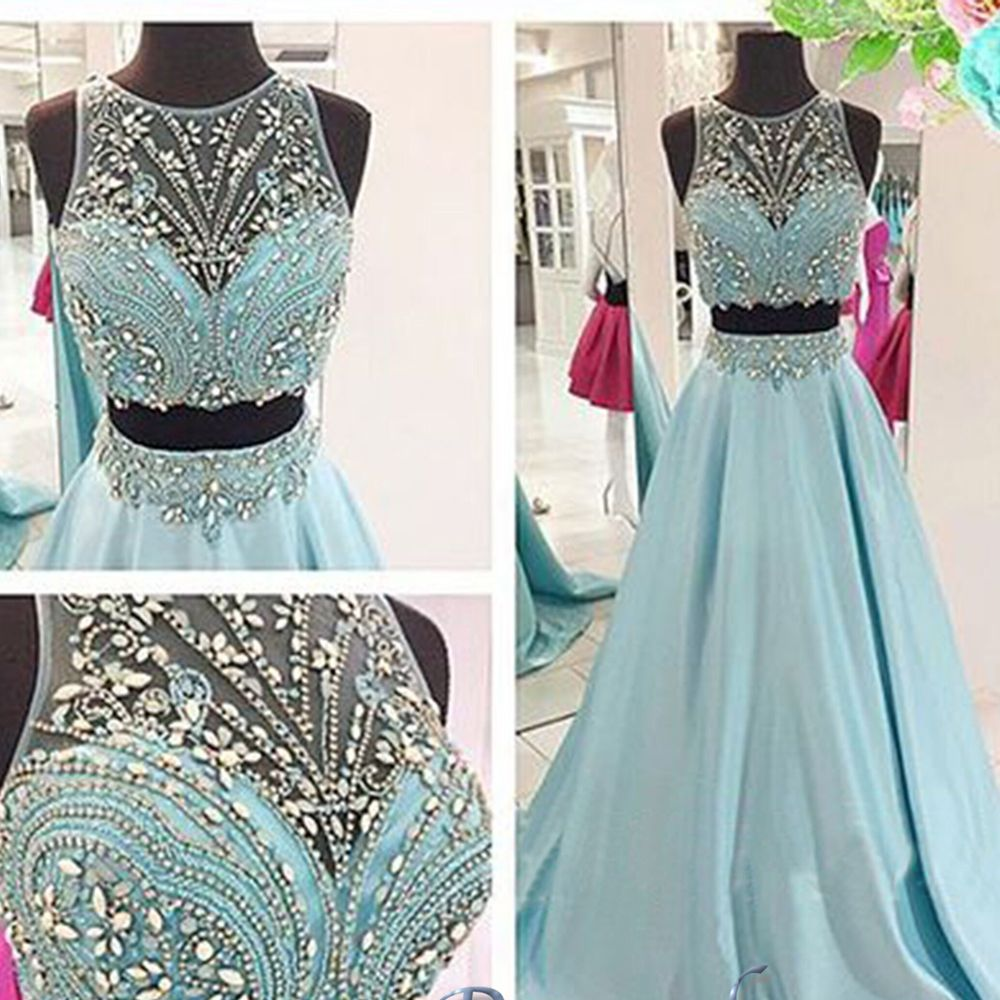 Aliexpress.com : Buy Sexy Two Pieces Prom Dresses Scoop Illusion Sheer with…