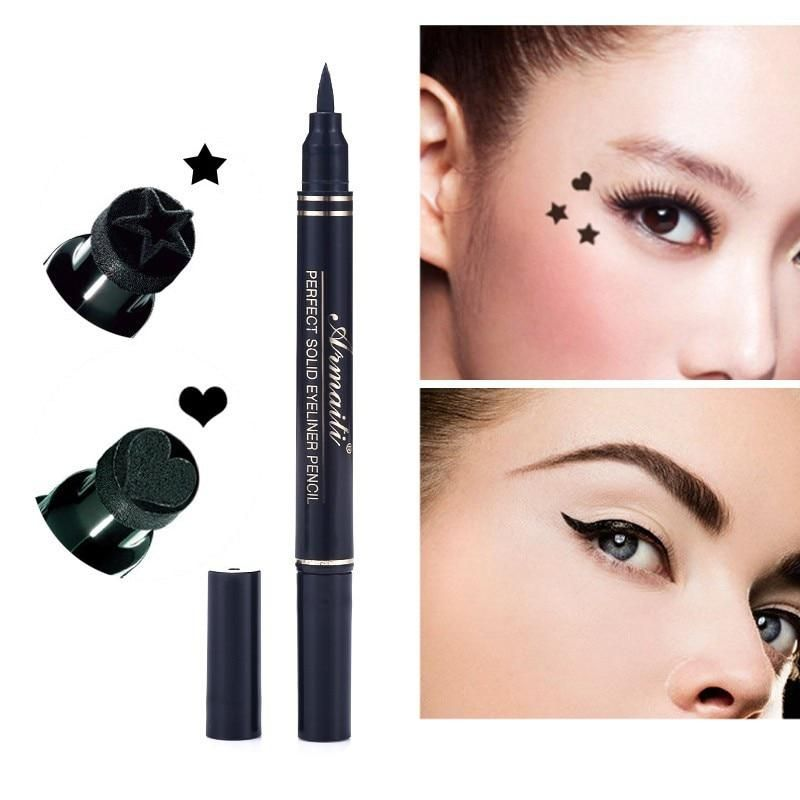 2 In 1 Stars And Hearts Black Waterproof Liquid Eyeliner Stamp