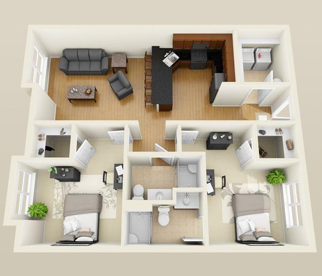 2 Bedroom 3d Floor Plan For Internet Listings Jpg 630 540 Pixels Apartment Floor Plans 2 Bedroom Apartment Floor Plan Sims House Plans