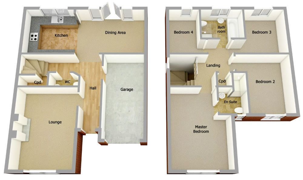 Semi Detached House Plans With Garage Google Search Garage House Plans House Plans Open Plan Kitchen Dining Living