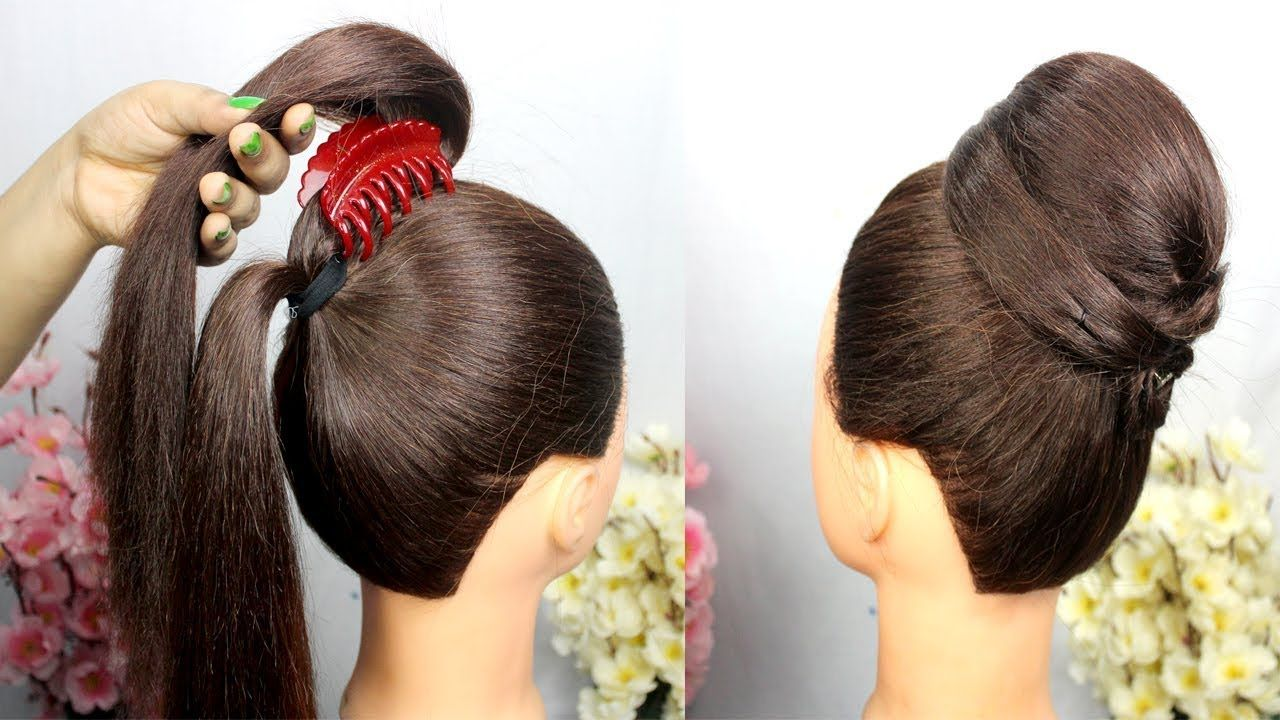 very easy hairstyle with using clutcher || easy Hairstyles For Party || clutcher hairstyle ...