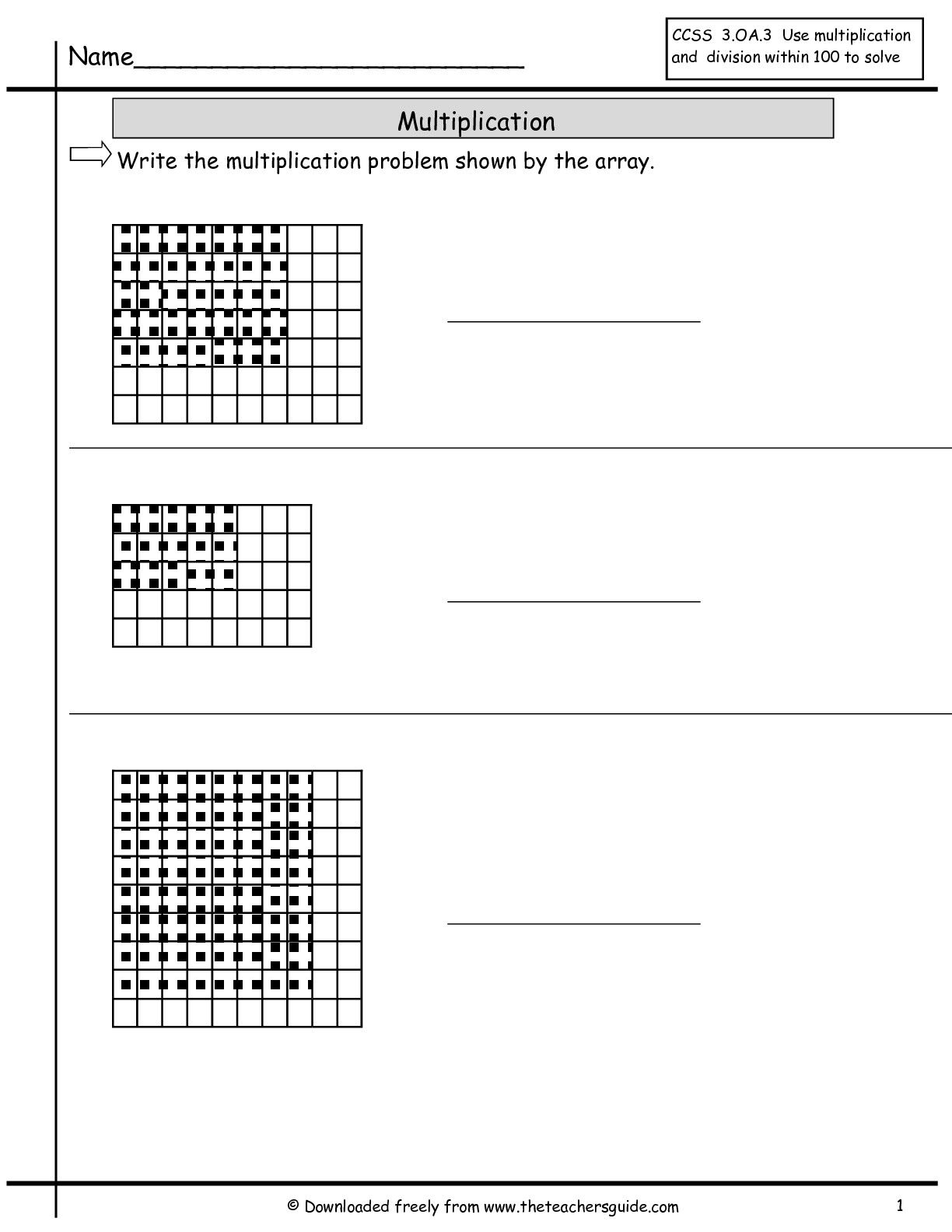 Multiplication Array Worksheets
