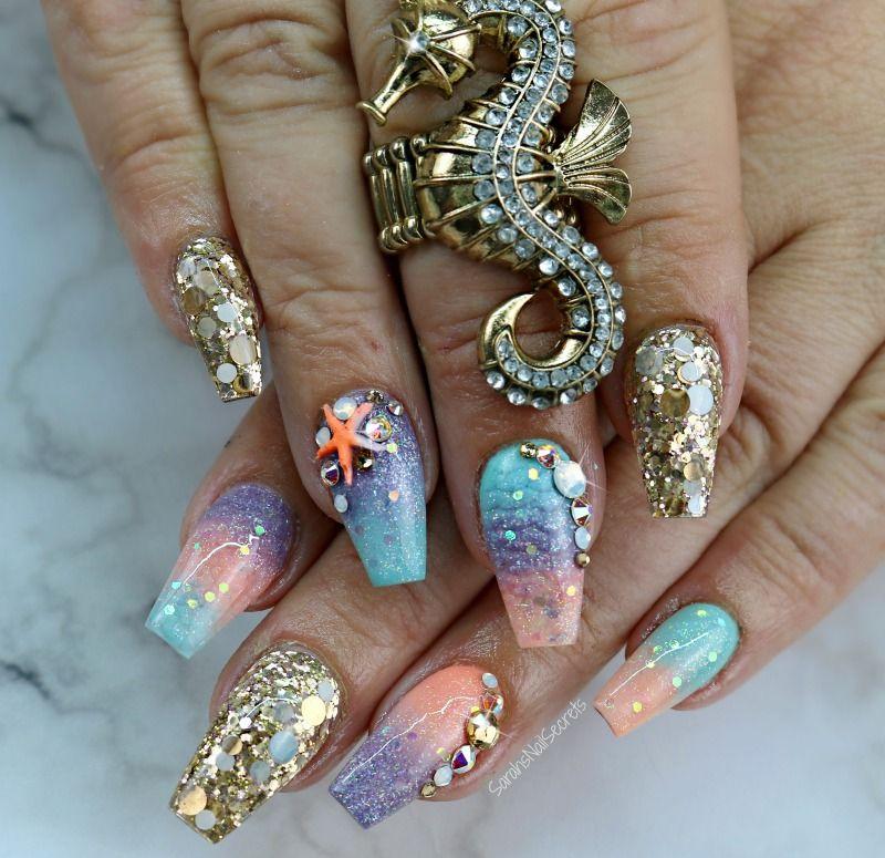 mermaid nails #mermaidnails #mermaid | Nailed It! | Pinterest | Arte ...