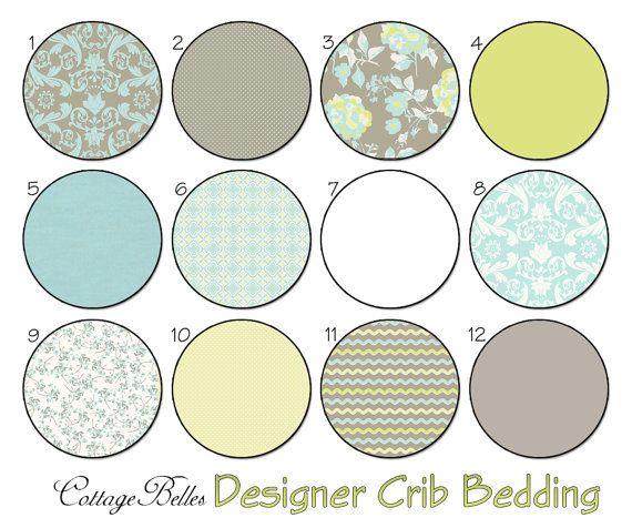 Crib Bedding - Choose Your Items  - Kensington 2 - Cottage Chic Roses Damask Stripes by Cottage Belles