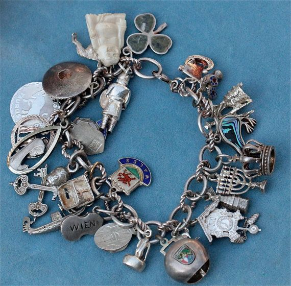 42a64dbfd Vintage 1960's Traveler Traveling Sterling Charm Bracelet Loaded With Charms