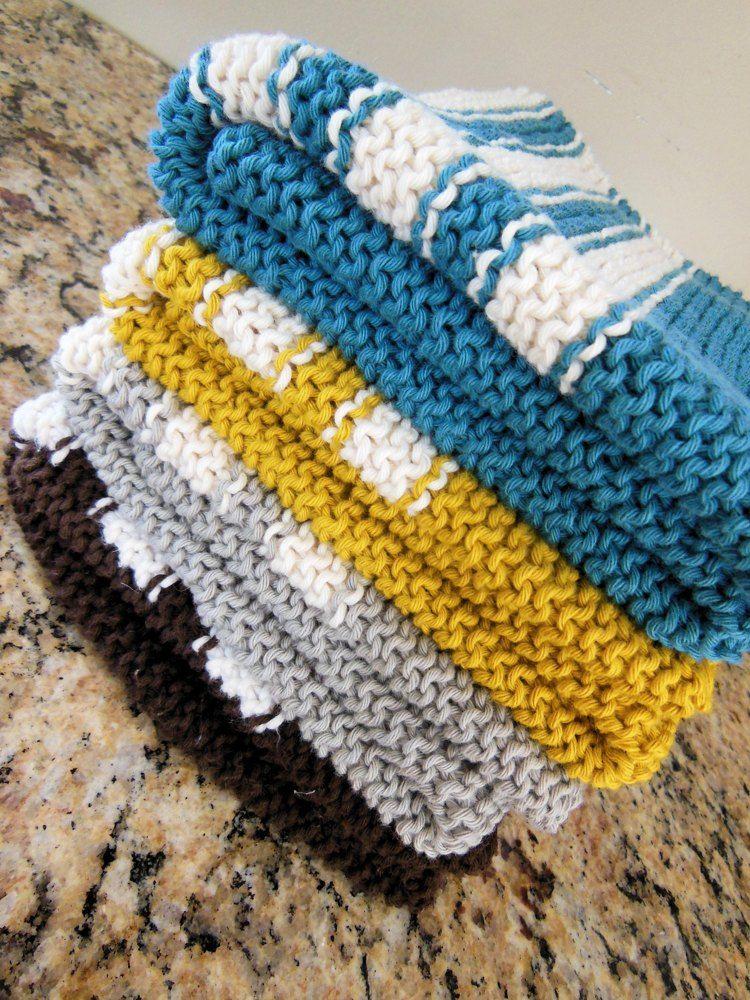 Garter Stitch Striped Dish Towel Knitting pattern by Diana ...