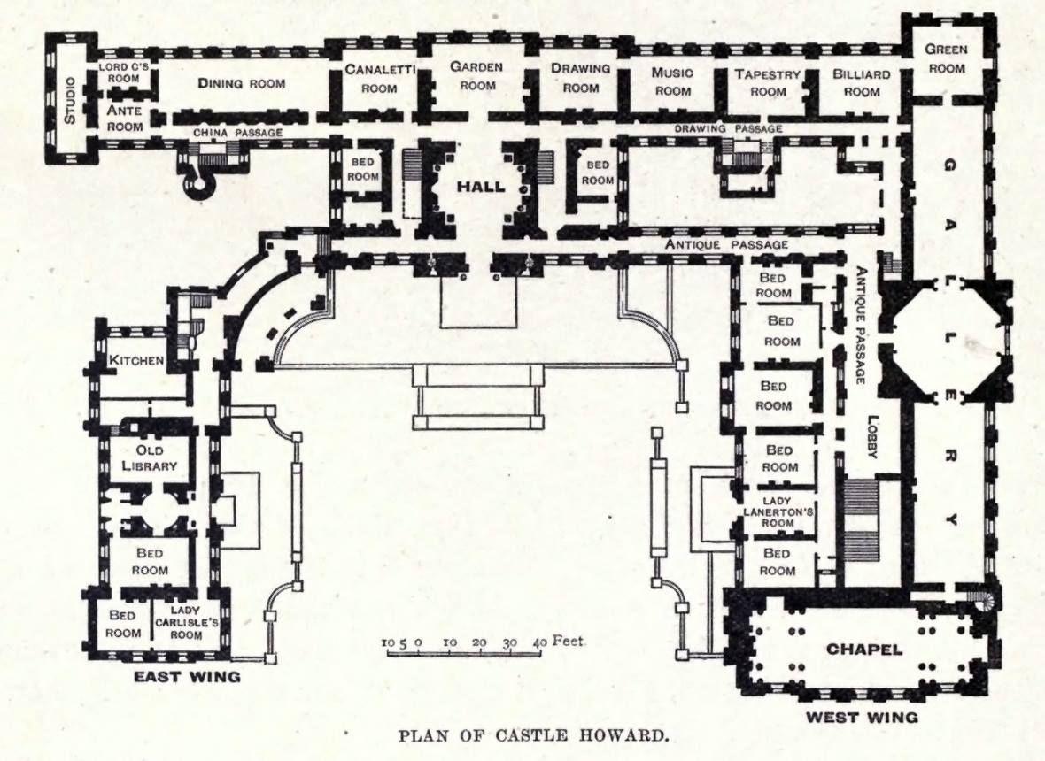 Castle Howard North Yorkshire England John Vanbrugh And Later Thomas Robinson West Wing 1699 1811 Castle Floor Plan Castle Plans Floor Plans