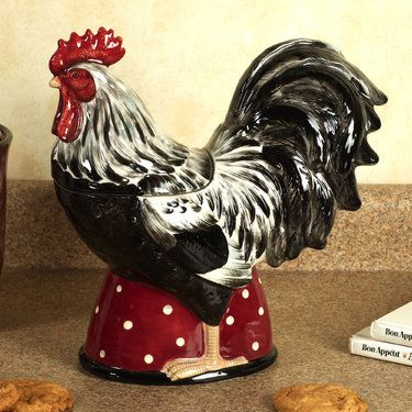 black and white kitchen roosters | country rooster cookie jar will be a perfect addition to your rooster ...