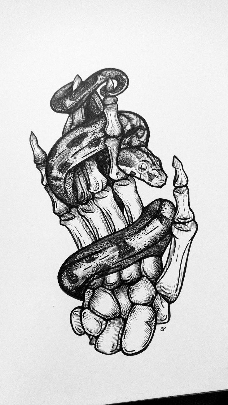 Photo of conception de tatouage de squelette de serpent
