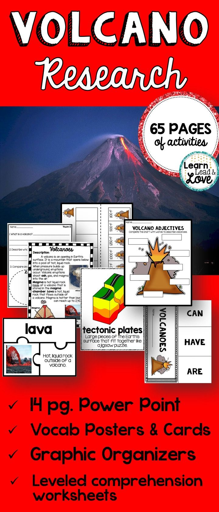 worksheet Volcanoes Reading Comprehension Worksheet volcano research unit with powerpoint halftimedollardeals worksheets 65 page mega to teach all about volcanoes included are the following elements