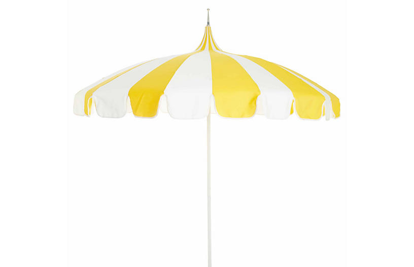 Pagoda Patio Umbrella   Yellow/White   California Umbrella
