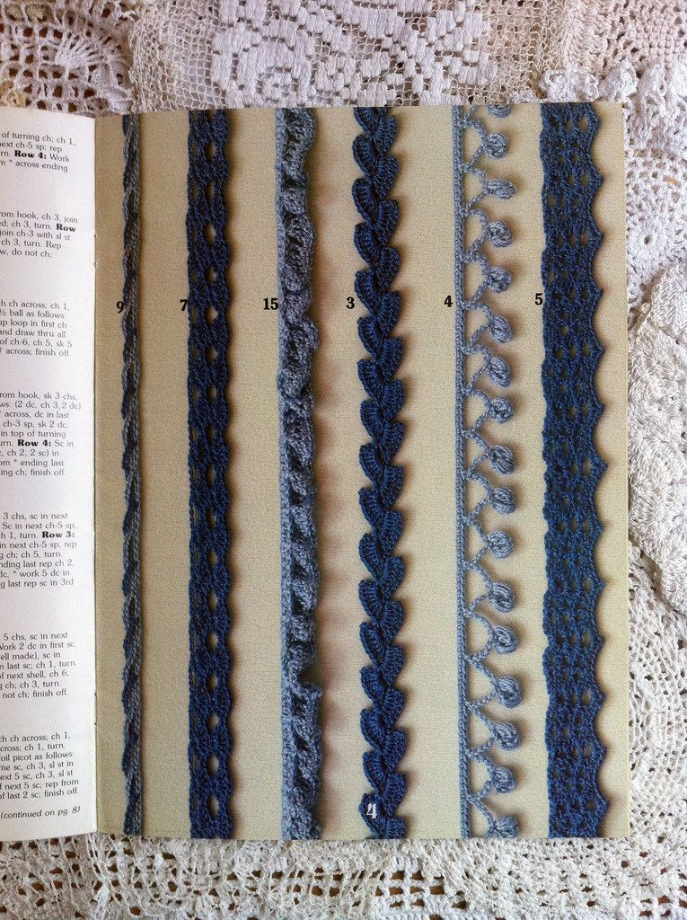 crochet edgings, ideas & inspiration. #3 is edging used in a scarf pattern, edging strips are worked, then joined together  *from vintage leisure arts book 'crocheted edgings & motifs