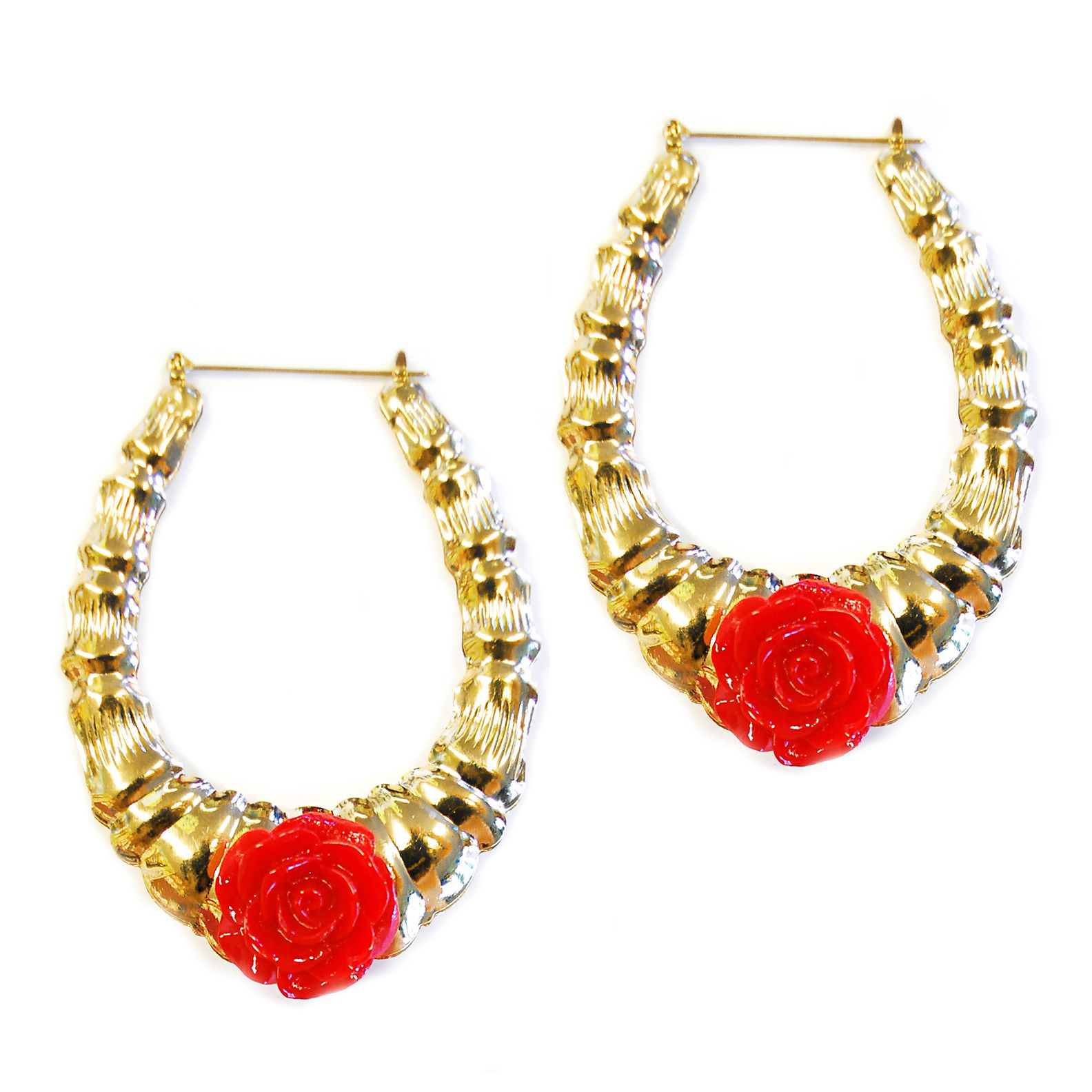 Ilaments Gold Bamboo Rose Earrings #bamboo #earrings #rose #