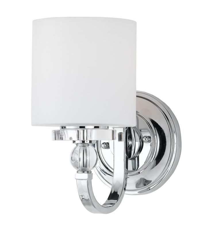 Bathroom Sconces Polished Chrome one light polished chrome opal etched glass bathroom sconce : sku