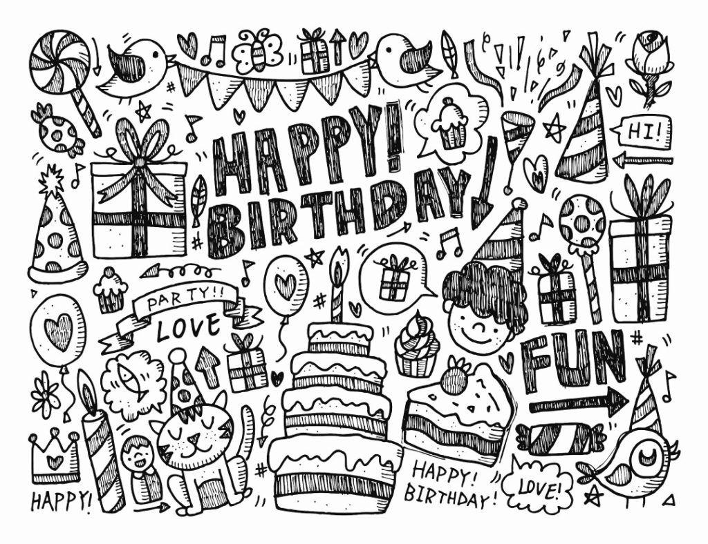 Coloring Rocks Happy Birthday Doodles Birthday Coloring Pages Happy Birthday Drawings
