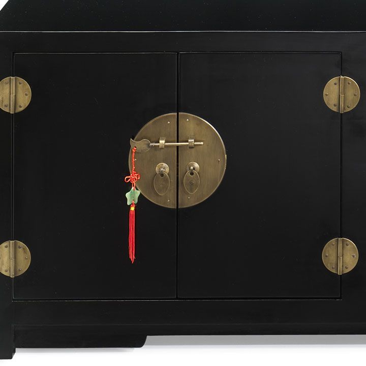 Low Chinese Cabinet, Oriental Style TV Cabinet in Natural or Black ...