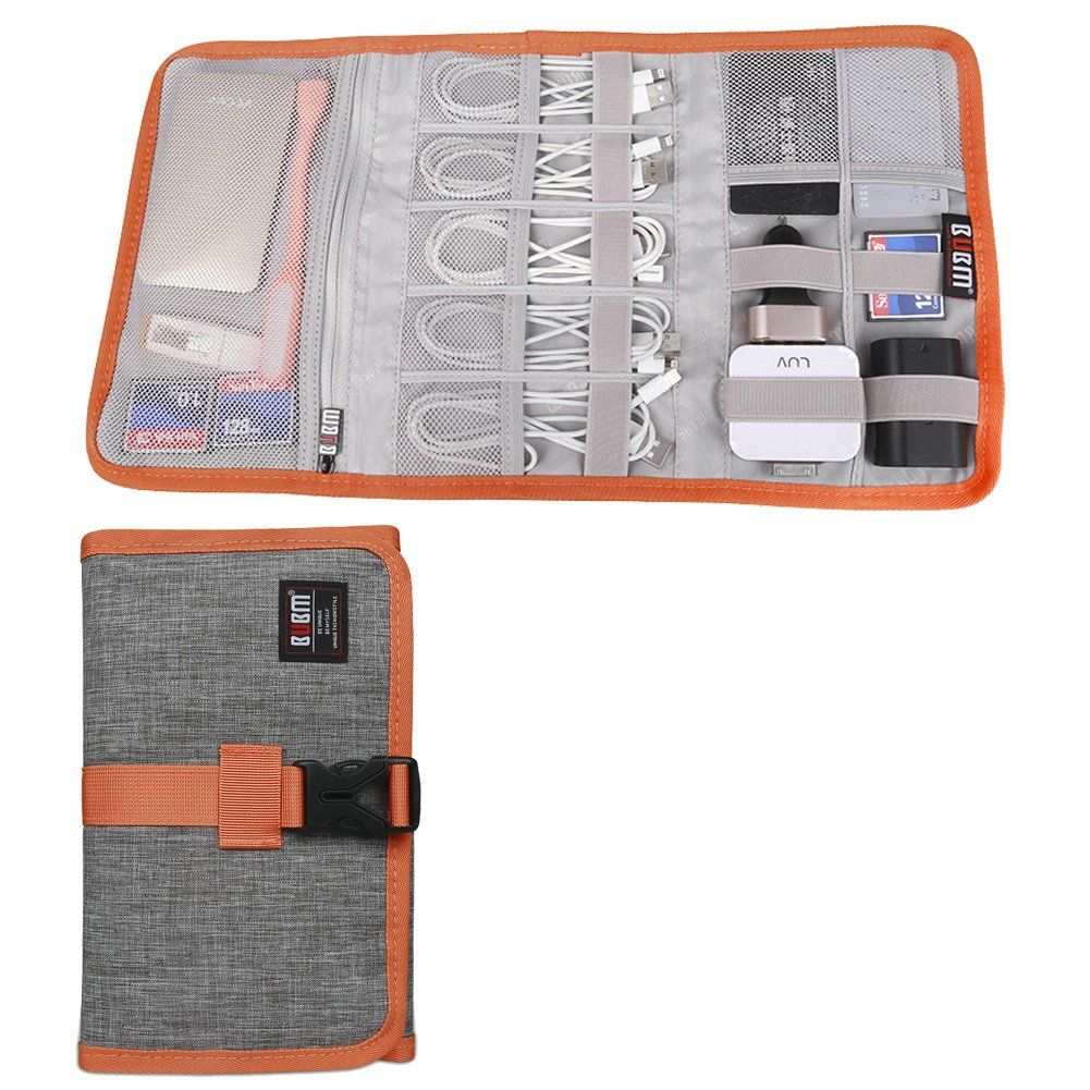 BUBM Travel Electronics Accessories Organizer Roll, SD Card / USB Data Cable/USB Flash Drives Management-3 Folders, Gray