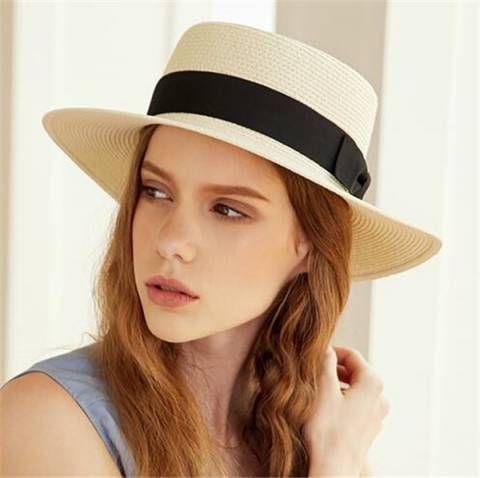 Fashion bow straw boater hat for women UV beach flat brim sun hats ... afdbfb90a173