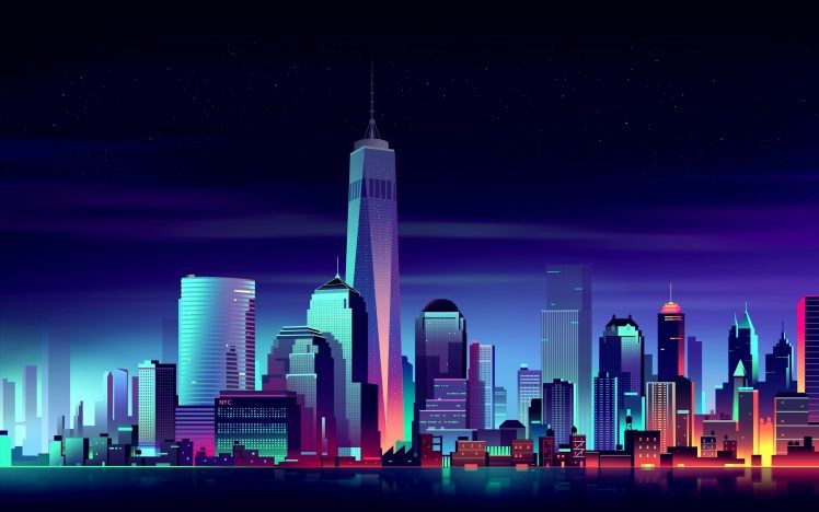 Night Cityscape Colorful New York City Hd Wallpaper Building Illustration City Buildings City Wallpaper