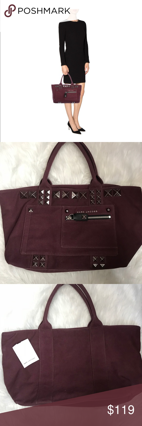 NWOT Marc Jacobs Chipped Studs Canvas Tote Clothes