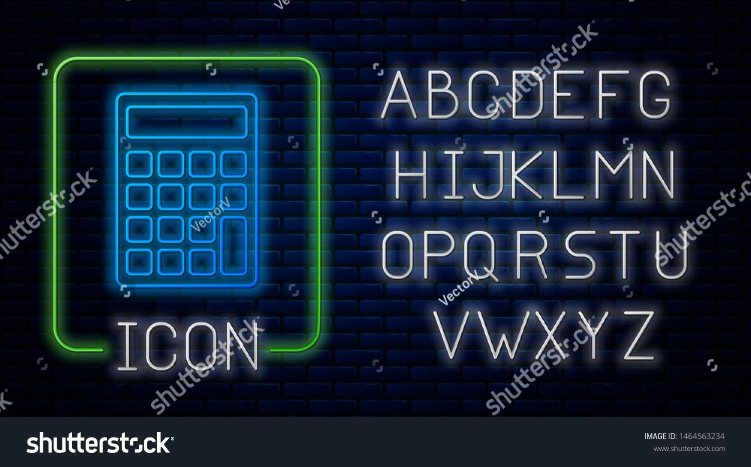 neon Calculator icon isolated on brick wall background Accounting symbol Business calculations mathematics education and finance Neon light alphabet Vector Illustration G...