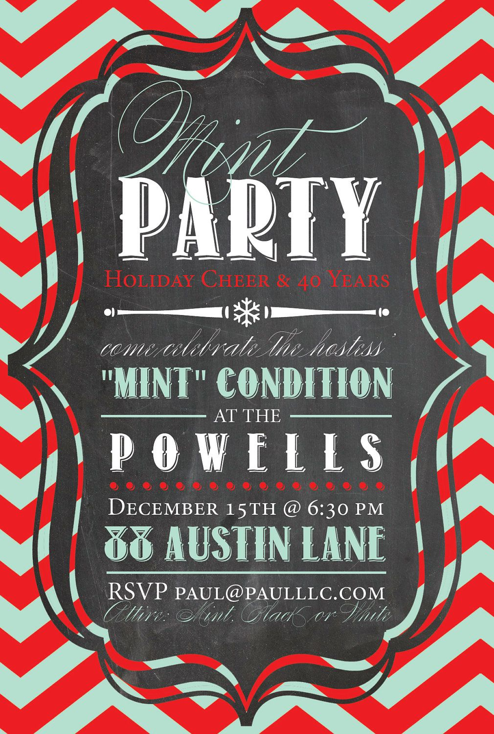 Custom HOLIDAY PARTY INVITATION Digital Card - Mint Chalkboard ...