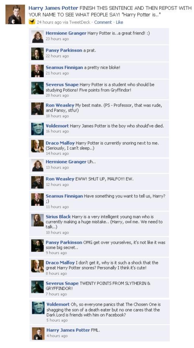 Funniest Facebook Conversation Rofl Harry Potter Vs Twilight Photo 23752583 Fanpop Weasley Harry Potter Harry Potter Ron Weasley Harry James Potter