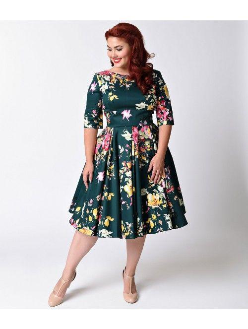 66f9128f51d Plus Size Vintage Deep Green Seville Floral Half Sleeve Hepburn Swing Dress