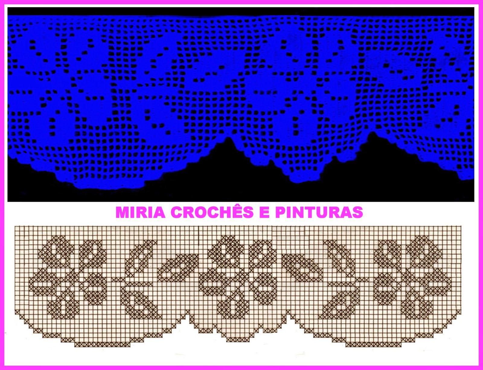 Miria Croches E Pinturas Barrados De Croche Com Flores N 666