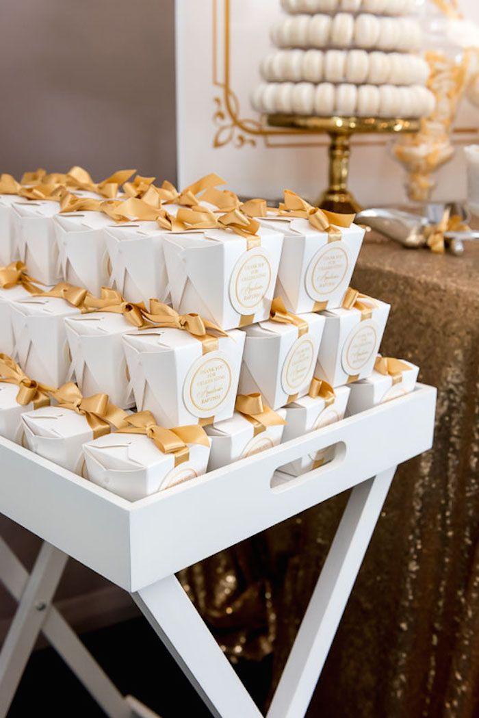 Elegant Gold White Baptism Party Via Kara S Party Ideas