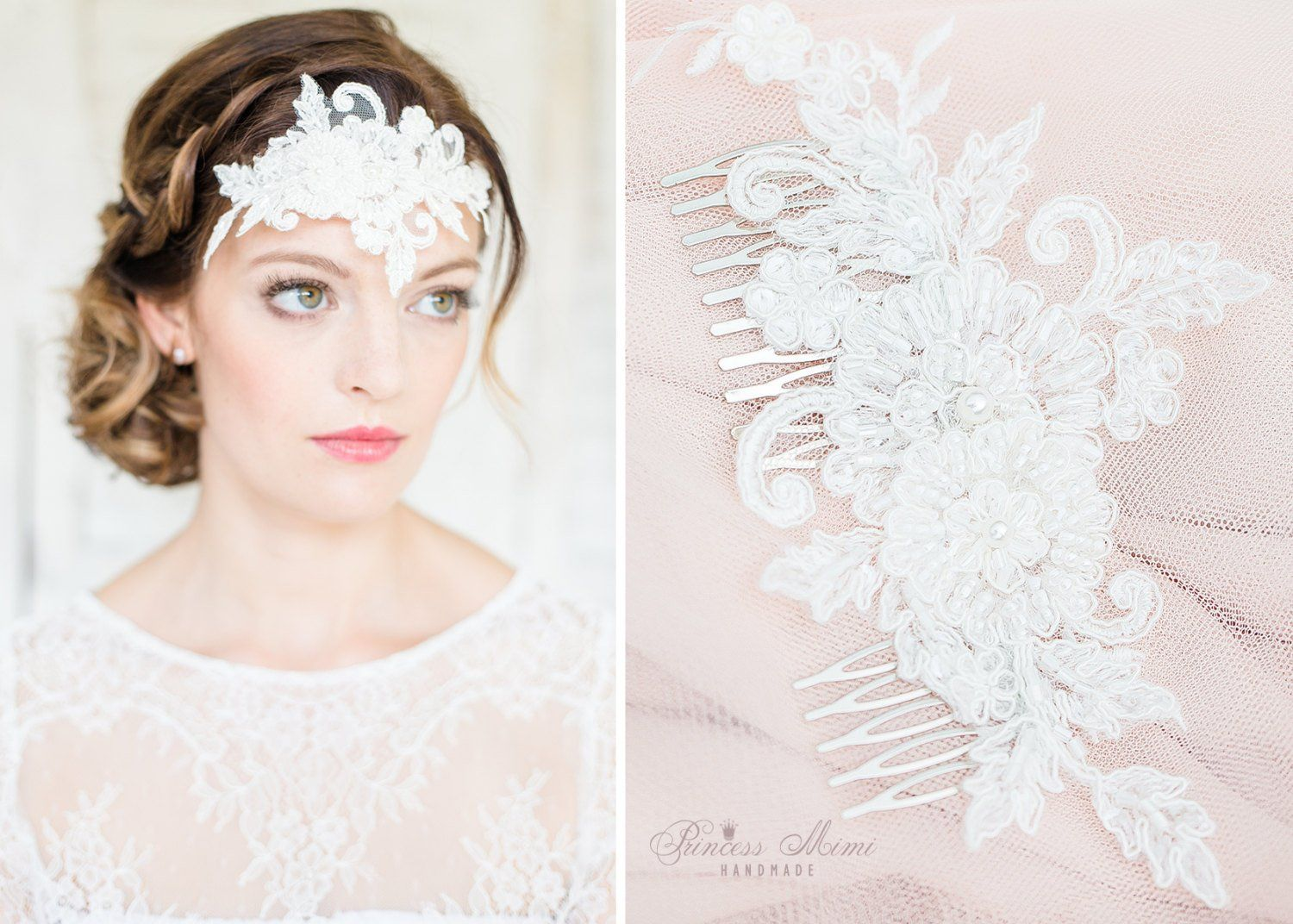 Bridal Hair Comb Wedding Headpiece with Beaded Lace Pearls and ...