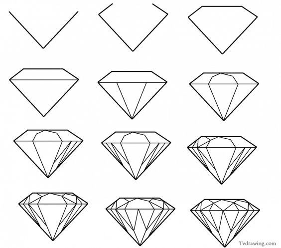 How To Draw A Simple Diamond Gemstone Pattern Easy Free Step By Step Your Background Jewelry Design Cen Easy Drawings Diamond Drawing Drawing Tutorial Easy