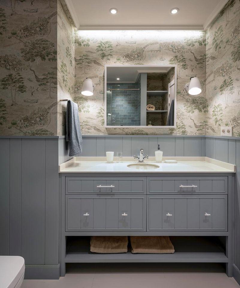 Decoración de cuarto de baño en azul y beig con bonito ...