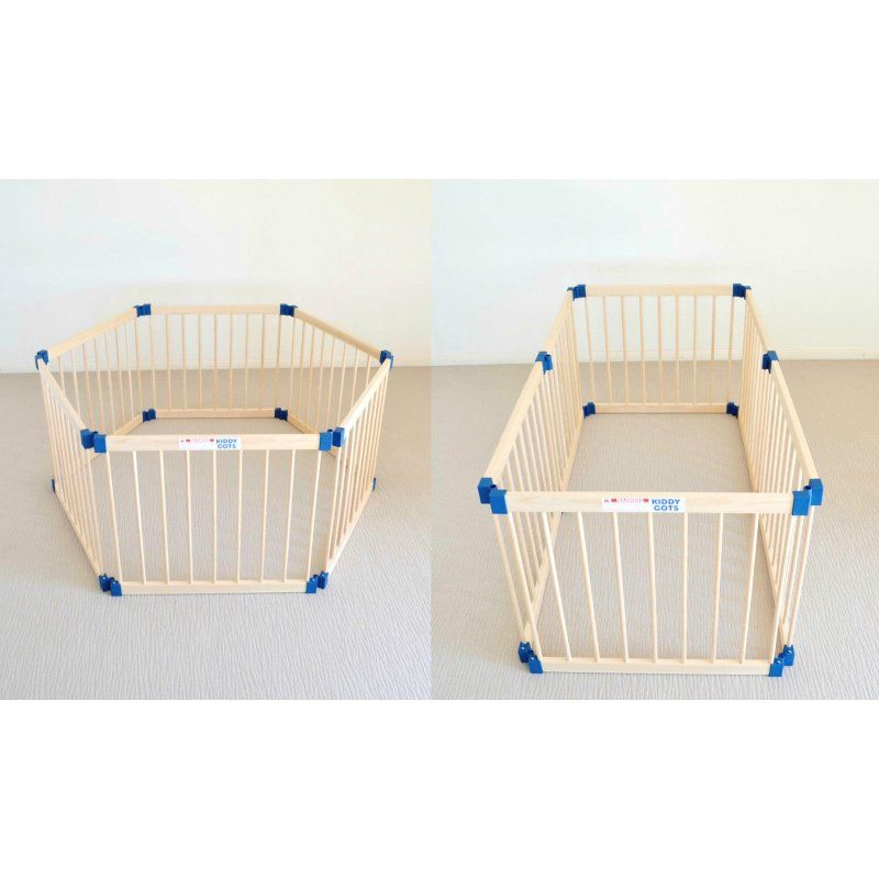 Adjustable 6 Panel Baby Playpen Natural Timber 77cm | Buy Baby Safety