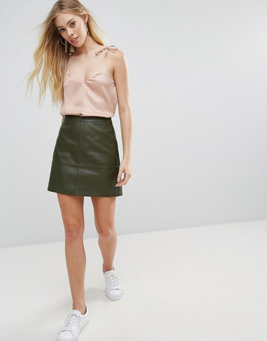c540e0daf New Look Leather Look Mini Skirt - Green | Shop the look products ...