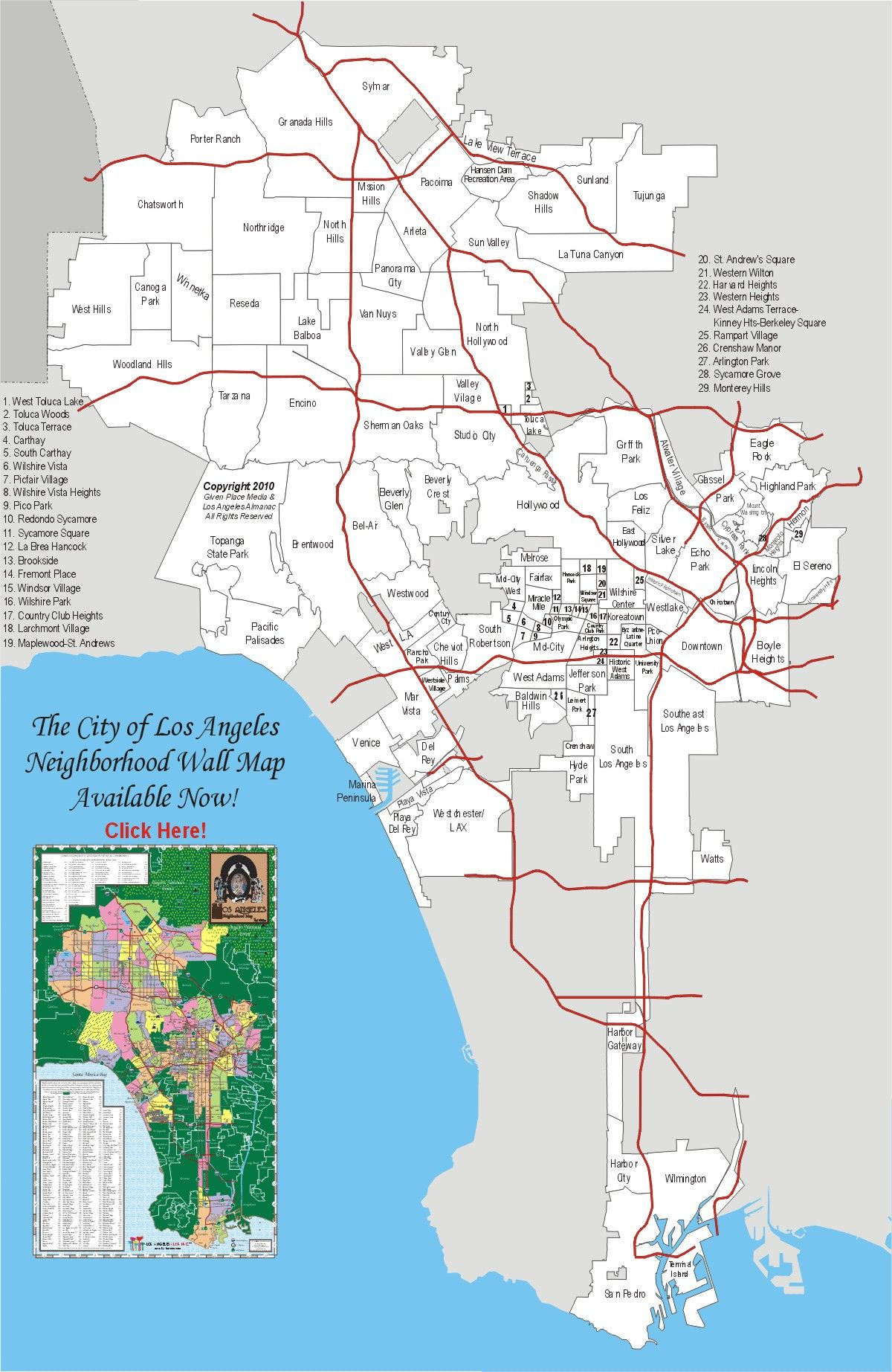 City Of Los Angeles Map  Larger View  Things  Pinterest