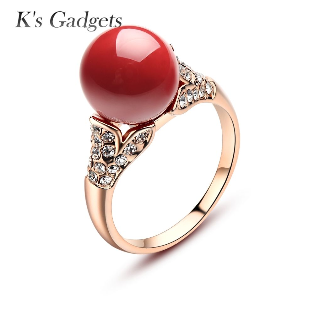 2d59eafef19 Natural Jewelry Rose Gold And Silver Plated Austrian Crystal Ball Red Coral  Rings For Women Red