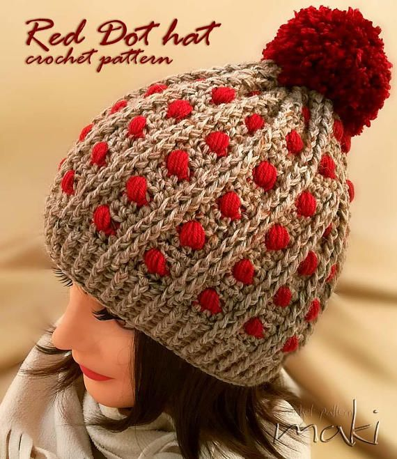 CROCHET PATTERN Red Dot hat crochet pattern Pom-pom hat | Hats ...