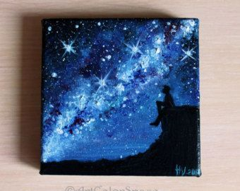Milky Way painting Night sky Oil painting on canvas Starry sky