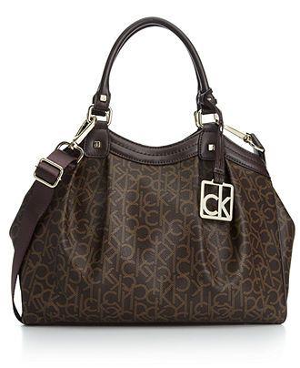 c665c24e4d Calvin Klein Handbag, CK Coated Canvas Satchel - Calvin Klein - Handbags &  Accessories - Macy's