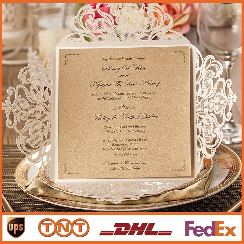 Wedding Invitations Gold Paper Free Printing Laser Cutting Wedding