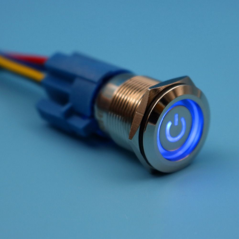 19mm 12v 5pin Blue Led Power Symbol Waterproof Metal Latching Electrical Wiring Push Button Switch Maintained With Wire