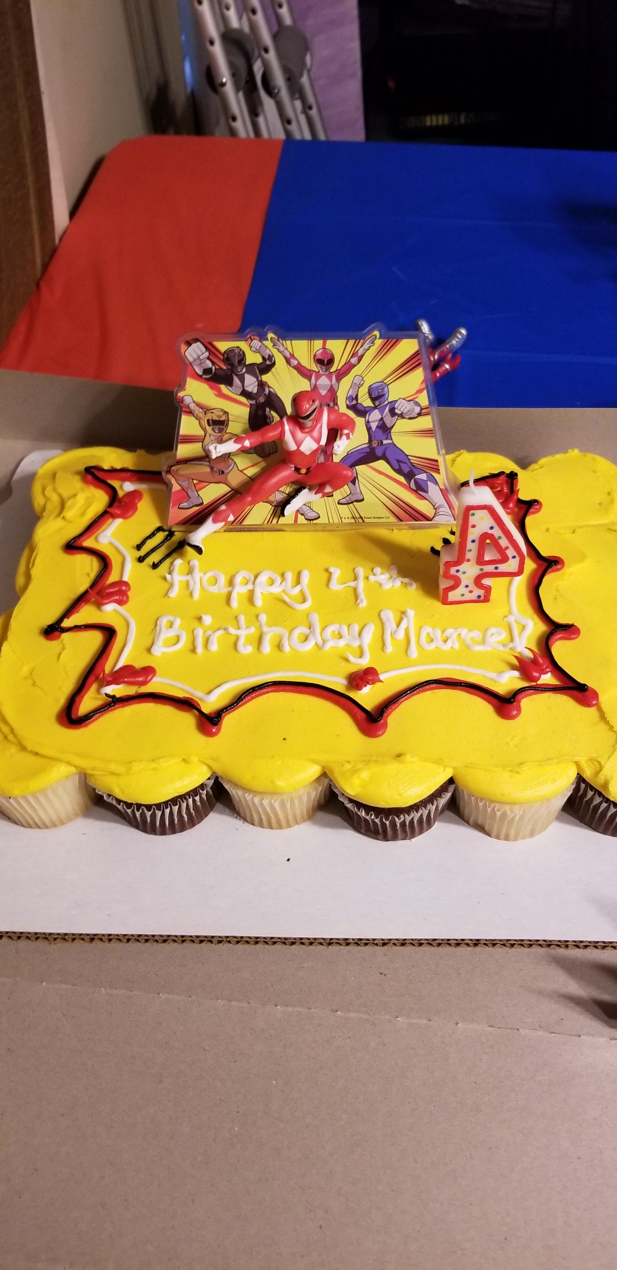 Pleasing The Cupcake Cake Ordered At Walmart Power Ranger Party Personalised Birthday Cards Paralily Jamesorg