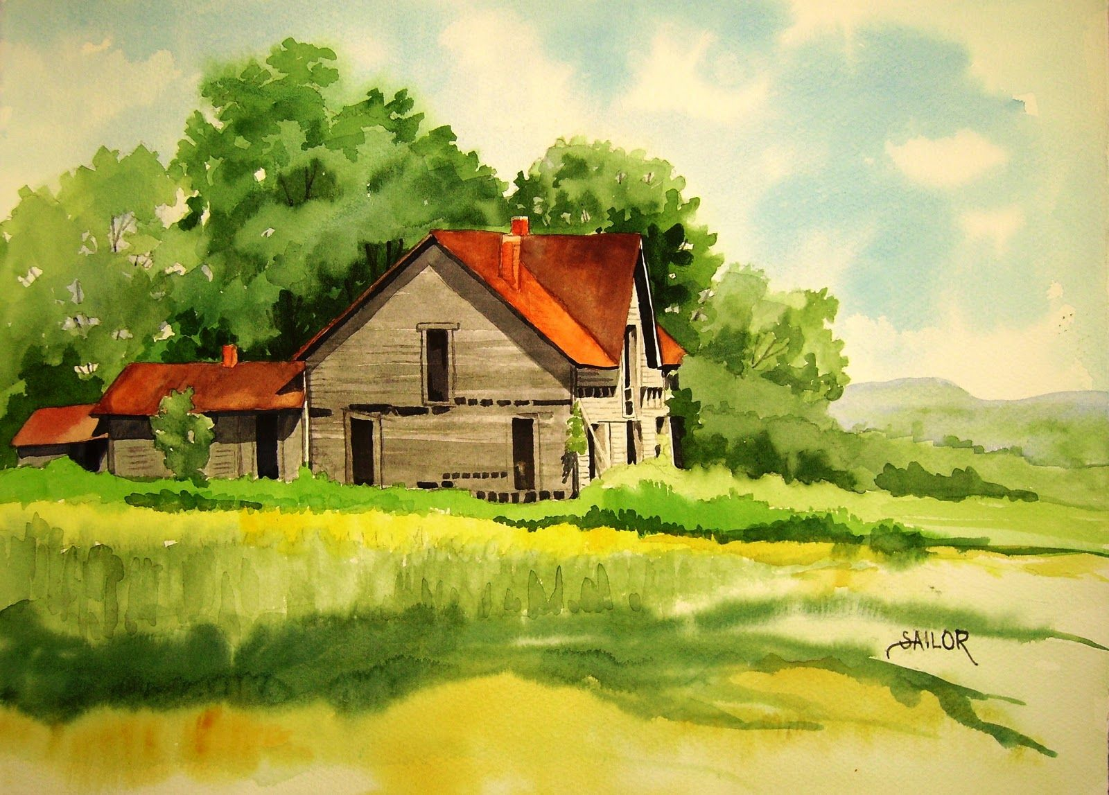 Watercolor painting old house art acrylics oils for Classic house painting