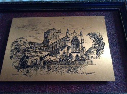 3 Old Etched Engraved Pictures In Black Frames Signed W S Creighton