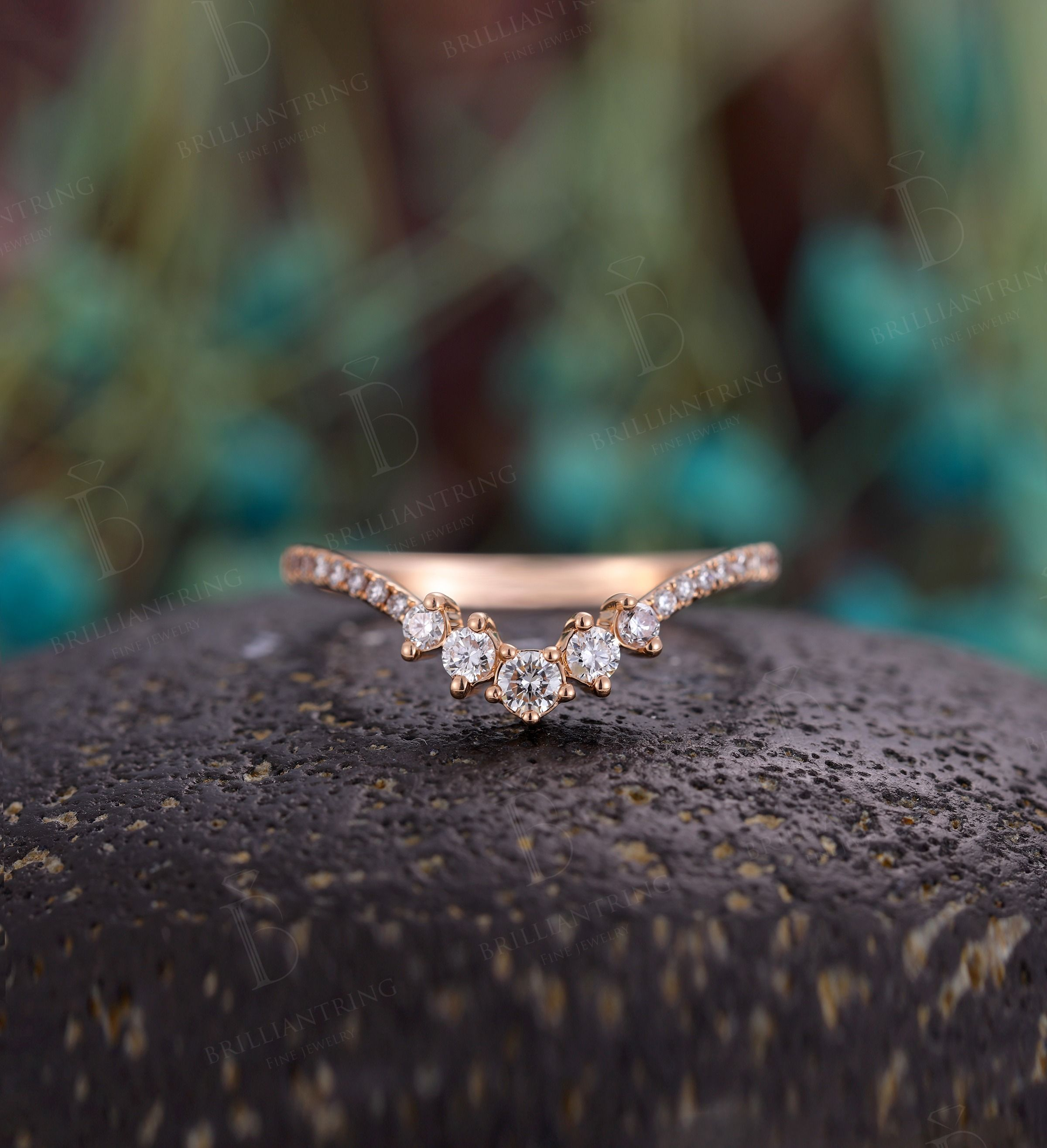 Moissanite Curved wedding band woman Solid 14K rose gold